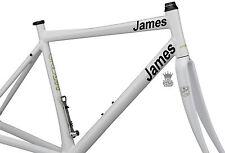 2 X Bicicletta Personalizzata Nome Adesivi Vinile Decalcomanie Plain font Bicicletta BMX personalizzato
