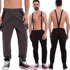 Pantaloni uomo tuta bretelle portafogli cavallo basso casual cotone nuovi 0702
