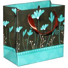 Sac cadeau 12,5cm x 12,5cm x 7cm - papier 250gsm mat marron turquoise - Gift bag