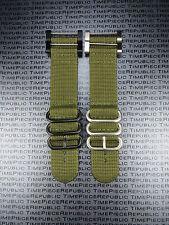 Suunto Core 2-Piece Nylon Diver Strap 3 Ring Watch Band Lugs Adapter Set Green