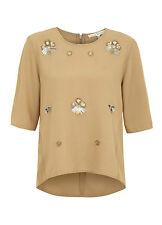 Uttam Boutique for Yumi Art Deco Shell Embelli Haut en taupe-RRP £ 45.00