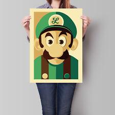 Luigi Poster Super Mario Bros Retro Wall Art A2 A3 A4