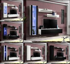 salón modular de PARED Estantería FLY G Alto Brillo Pvc Iluminación LED