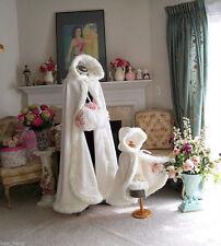 2016 New Winter Long Faux Fur Trim Wedding Cloaks Bridal Kids Flower Girls Cape