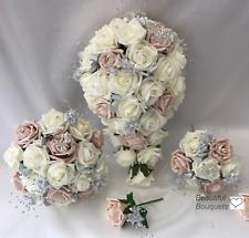 Satin wedding bouquets ebay wedding flowers ivory rose butterfly bouquet bride bridesmaid flower girl wand junglespirit Choice Image