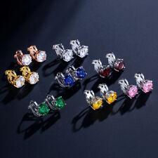 Boucles d'oreilles Clip ON Argenté Puces Petit Cubic Zircon Brillant Discret J15