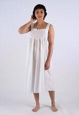 Meg Ladies Cotton Sleeveless Embroided Blue Rosebud Nightgown/Sleepwear/Nightie