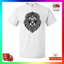 Zentangle Lion TShirt T-Shirt Tee Unisex Bohemian Art Fresh Black White Xmas