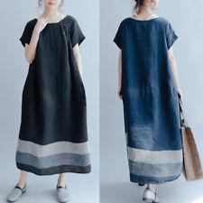 UK 10-24 ZANZEA Women Short Sleeve Striped Loose Baggy Long Shirt Dress Kaftan