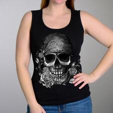 Ladies Rhinestone SKULL Tank Top Women Motorcycle Biker Bandana t-shirt Charcoal