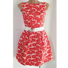 Abito donna Diva Trend couture fiori rosso vestito vestitino 42