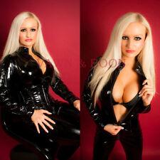 Premium Black PVC Catsuit Size 6 8 10 12 14 XS S M L XL catwoman fancy dress