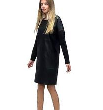 NWT $299 Designer Premium Asos WHITE Label Genuine LEATHER DRESS Black Khaki