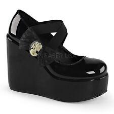 "DEMONIA POISON-02 Black Gothic Lolita Platform 5"" Wedge Heels w/Zombie Cameo Bow"