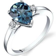 14K White Gold London Blue Topaz Diamond Tear Drop Ring 2.25 Carat Size 7