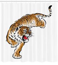 Tiger Shower Curtain Japanese Hand Drawn Print for Bathroom