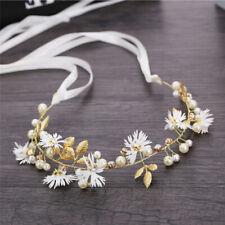 Daisy Flower Headband w/ Ribbon Wreath Wedding Garlands Floral Crown Hairband