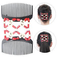 Frauen Magie Holz Stretch Doppel Clip Haarspange Kamm Doppel Slide Clip