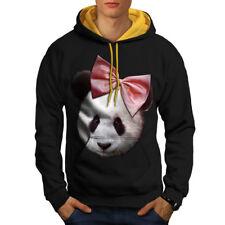 Panda Ribbon Cute Funny Men Contrast Hoodie NEW | Wellcoda