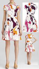 $398 Diane Von Furstenberg DVF Scarlet Eden Garden Multi Pleated Shirt Dress