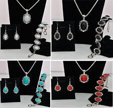 3-tlg. Schmuckset Damen Ohrringe, Armband, Kette Vintage Türkis-Stein Silber NEU