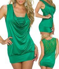 ♥ sexy Miss señora cascada top espalda punta Long camisa 34/36/38 brillo verde