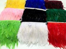 1m rooster hackle hen feather fringe trim fascinator matériel-noir, rouge, or