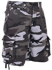 Men's Vintage City Camouflage Utility Cargo Shorts - Black and White Camo