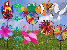 Garten Deko Windrad, Windspiel Blume Ø38cm 85cm hoch, Windmühle Ø28cm 60cm hoch