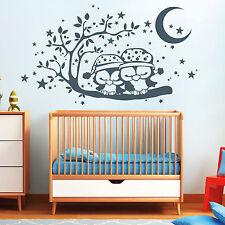 11072 Pegatina pared 2 búhos dormir Rama Estrellas Luna DORMITORIO INFANTIL