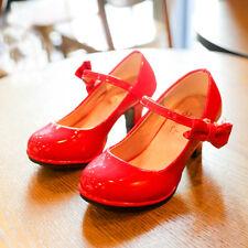 Girls Pu Leather High Heel Shoes Bowknot Dress Shoes High Heel Dance Shoes