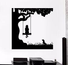 Wall Decal Girl Child Dog Friend Pet Swing Nature Vinyl Sticker (ed482)