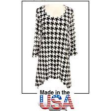 Tunics Tops - Houndstooth Print - Black & White - ATP-TT8704