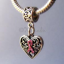 Breast Cancer Awareness Pink Ribbon Charm - Large Hole European Charm Bracelets