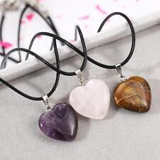 Natural Gemstone Heart Pendant Necklace Amethyst Rose Quartz Tiger Eye
