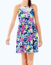 New Lilly Pulitzer GIRLS KINLEY DRESS Nauti Navy Capri Soleil Pink XL 12 14