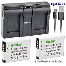 SLB-11A Batter & USB Dual Charger for Samsung WB700 WB650 WB600 TL500 TL350 EX1