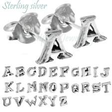Sterling Silver Alphabet Letter Initial Ear Stud Earring UK for Girl Boy Name