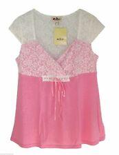 John Baner  Shirt Tunika mit Spitze Longtop Top  Gr 36 38 S   türkis + rosa  neu