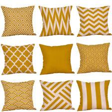 Fashion Mustard Pillow Case Yellow Geometric Fall Autumn Cushion Cover Decor New