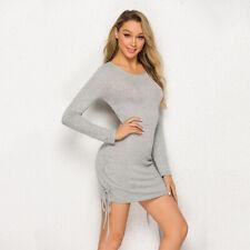 Fashion Women Short Dress Solid Long Sleeve Stretchy Package Bodycon Mini Dress