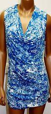 Liz Lange Maternity Shirt Cowl neck Ruched Sides Turquoise White Swirl Nursing