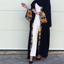 Abaya Dubai Women Open Front Kaftan Muslim Cardigan Jilbab Robe Maxi Dress Black
