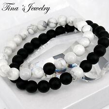 Bracelet Set, Couples Bracelet, Couple Bracelet, Howlite Bracelet, Onyx Bracelet