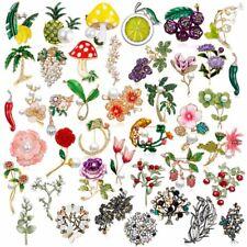 Fashion Wedding Women Crystal Pearl Enamel Flower Plant Brooch Pin Party Jewelry
