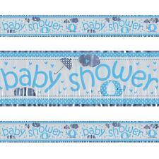 Blue Baby Shower Plastic Colourful Blue Foil Holographic Banner 3.65m Party