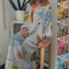 Women Long Sleeve Cotton Linen Loose Long Maxi Dress Kaftan V-Neck Boho Dress