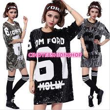 USA Women Girl Sequined Shirt 61 Dancing Tops Pole Dance /Disco/Jazz Dance