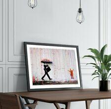 BANKSY COLOURED RAIN STREET ART FRAMED POSTER PICTURE PRINT ARTWORK 4 sizes