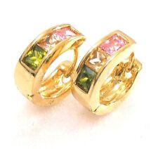 Women Huggie Hoop Earrings 18K Yellow Gold Plated MultiColour Simulated Diamond